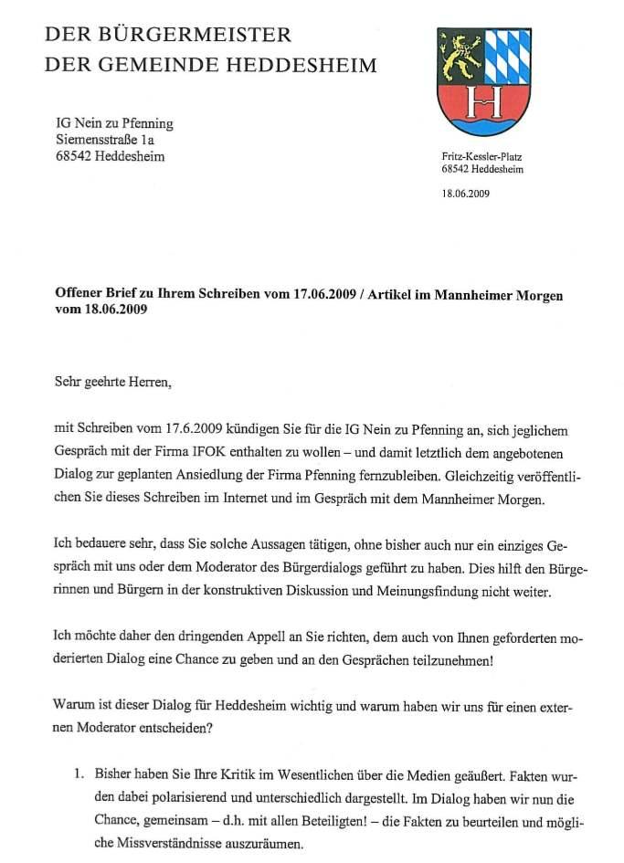 """Der """"Offene Brief"""" des Bürgermeisters an die IG neinzupfenning"""