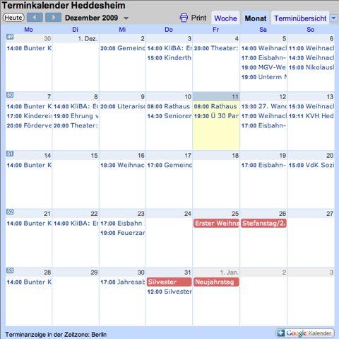 In eigener Sache: Terminkalender Heddesheim