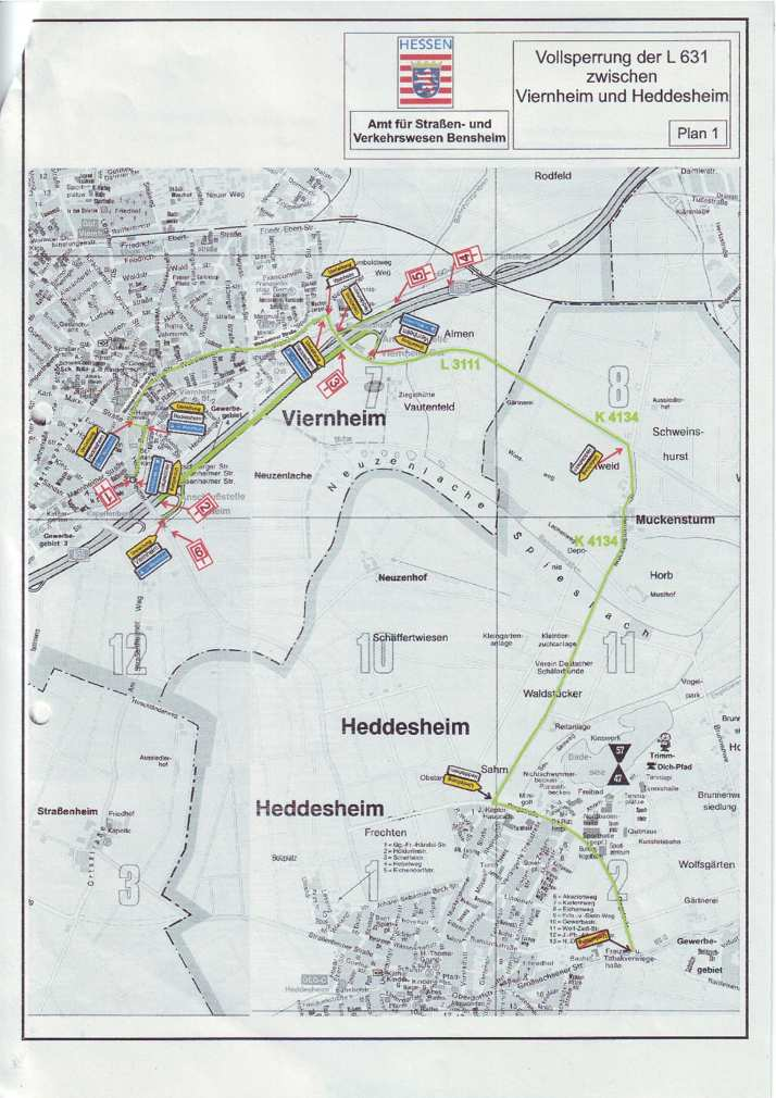 L 631 nach Viernheim seit heute gesperrt