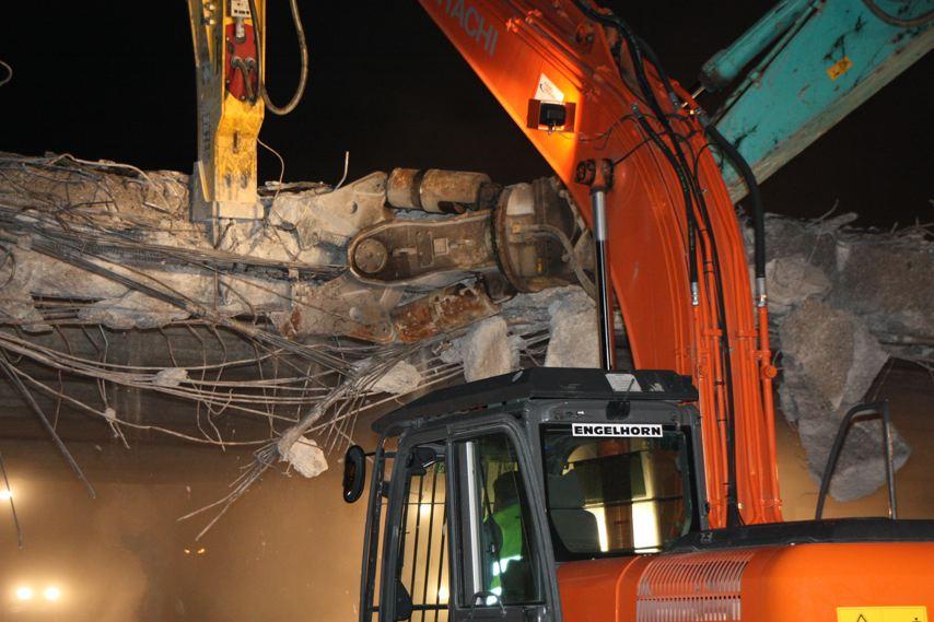 Der Abbruch: Erste Videos vom Brückenabriss Viernheim-Heddesheim