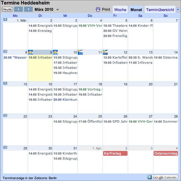 Sie haben Termine? Wir auch – im Terminkalender!