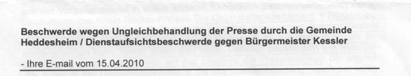 """Kommunalrechtsamt bestätigt """"heddesheimblog-Erlass"""""""