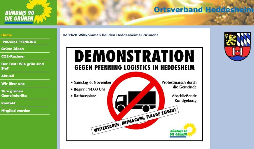 """Grünen-Demo gegen """"Pfenning""""-Ansiedlung"""