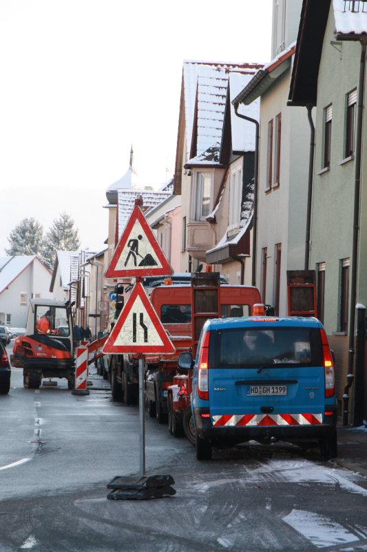 Wasserrohrbruch an der Viernheimer Straße