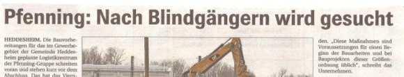 Pfenning: Von Baggern und Blindgängern