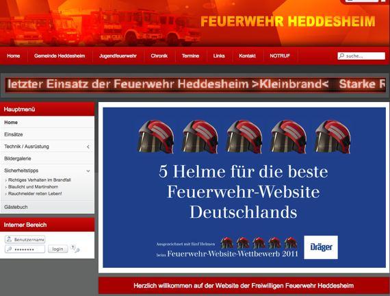Gratulation: Feuerwehr Heddesheim hat eine der besten Homepages deutscher Wehren