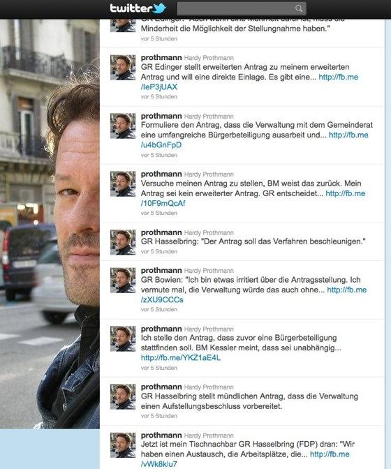 Twitter-Dokumentation der Gemeinderatssitzung