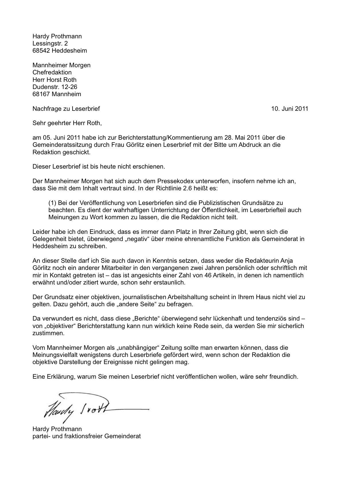 """Gläserner Gemeinderat: Herr Roth, veröffentlichen Sie nur """"genehme"""" Leserbriefe?"""