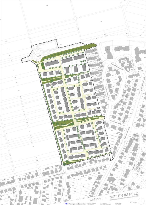 Gestaltungsplan des Baugebietes Mitten Im Feld