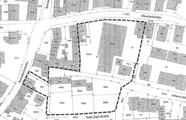 Der Bebauungsplan umfasst das Gebiet innerhalb der dick gestrichelten Linien. Es ist 7.300 Quadratmeter groß. Foto: Gemeinde Heddesheim