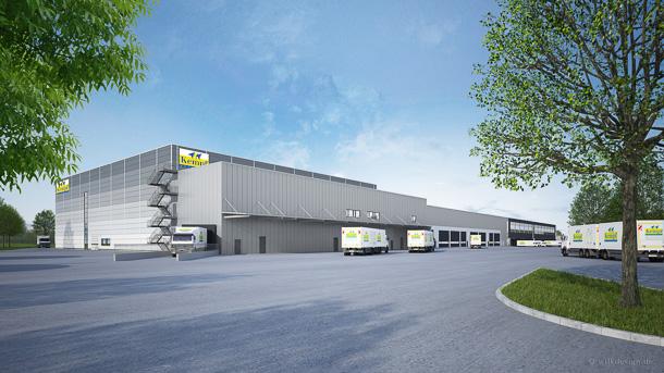 So soll das Getränkelager der Firma Kempf nach Fertigstellung im Jahr 2016 aussehen. Foto: EDEKA Südwest
